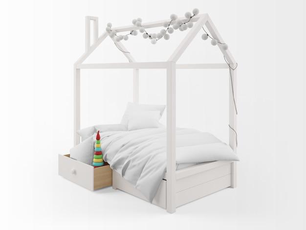 Реалистичная милая детская кровать с формой дома Бесплатные Psd