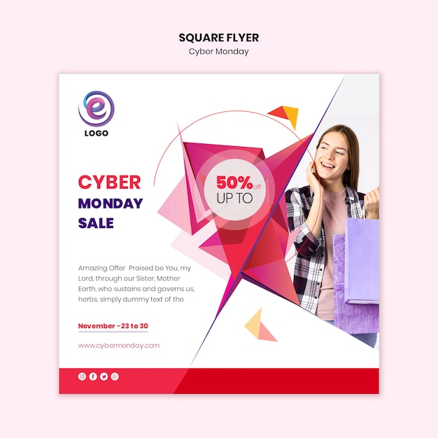 Realistic cyber monday square flyer Free Psd
