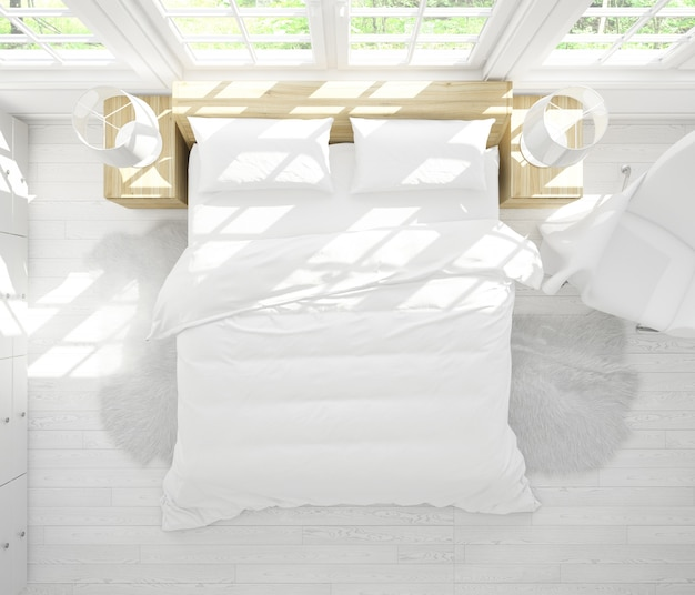 Реалистичная спальня с двуспальной кроватью с мебелью и большими окнами на вид сверху Бесплатные Psd
