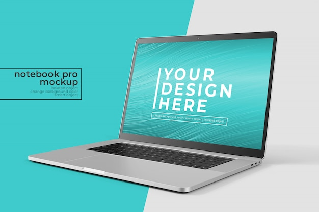 Realistic easy  15 inch notebook pro for web, ui and apps photoshop mockup   in front right view Pre