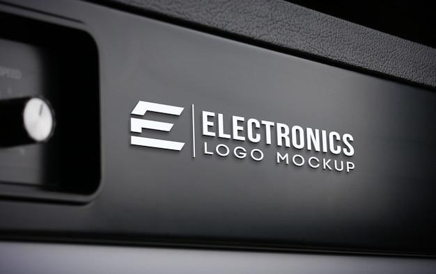 현실적인 전자 로고 모형 프리미엄 PSD 파일