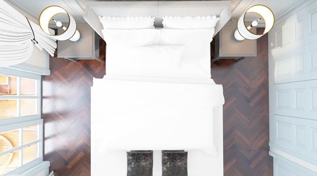 Реалистичная элегантная спальня с двуспальной кроватью с мебелью и большими окнами сверху Бесплатные Psd