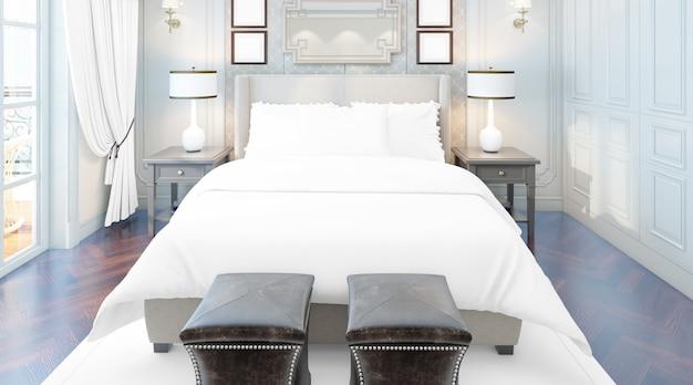 Реалистичная элегантная спальня с двуспальной кроватью с мебелью и большими окнами Бесплатные Psd