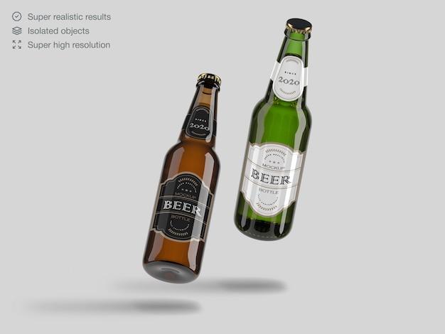 Реалистичные плавающие зеленые и коричневые стеклянные пивные бутылки макет шаблона Premium Psd