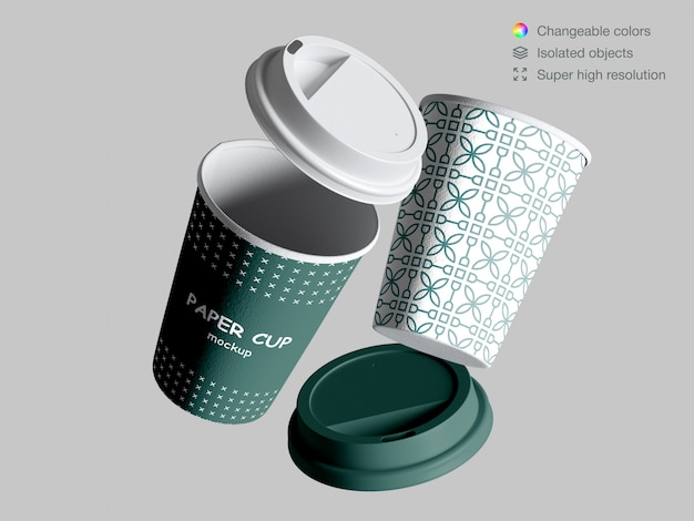 Realistic floating paper cups mockup with lids Premium Psd