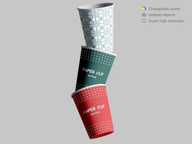 현실적인 떠있는 종이 컵 이랑 프리미엄 PSD 파일