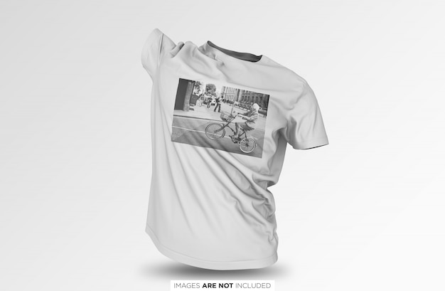 Realistic floating unisex t shirt psd mockup Premium Psd