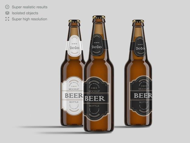 Реалистичная вид спереди пивные бутылки макет шаблона Premium Psd