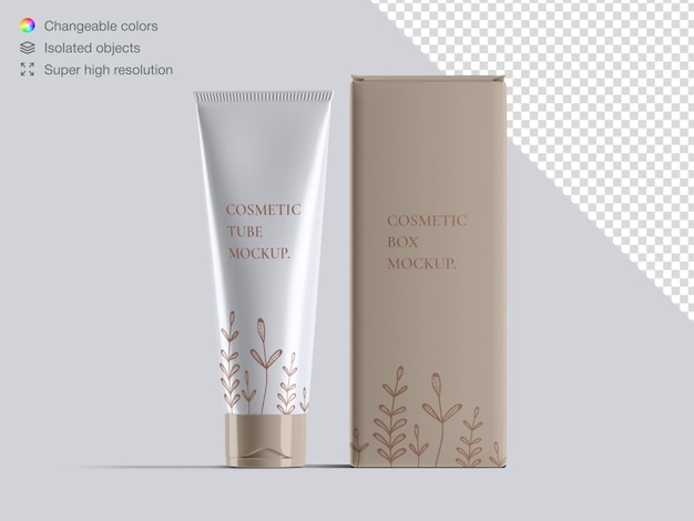 Realistic front view cosmetic cream tube and cosmetic box packaging mockup Premium Psd