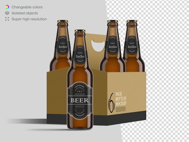 Реалистичный вид спереди шаблон упаковки этикетки шесть бутылку пива Premium Psd