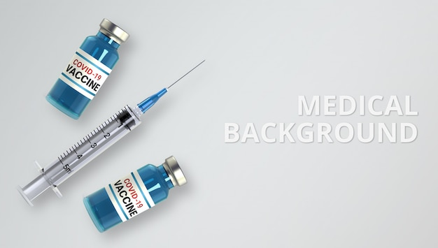 Realistic glass ampoules and syringe Premium Psd