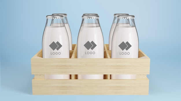 Realistic glass bottle of milk package mockup Premium Psd
