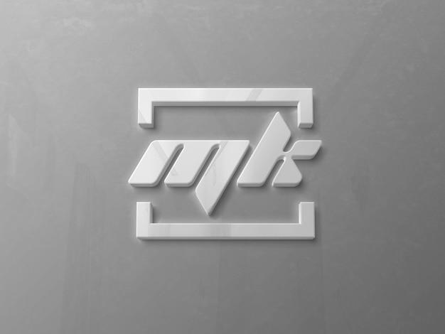 Реалистичный глянцевый 3d-макет логотипа на стене Premium Psd
