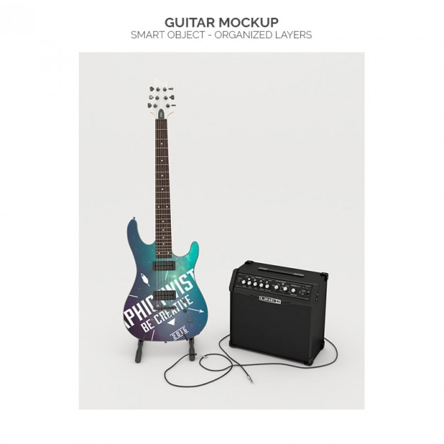 Realistic guitar mock up Free Psd