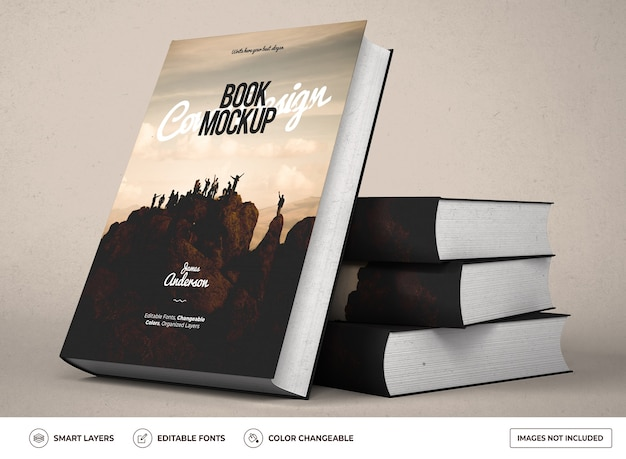 현실적인 양장본 책 목업 디자인 프리미엄 PSD 파일