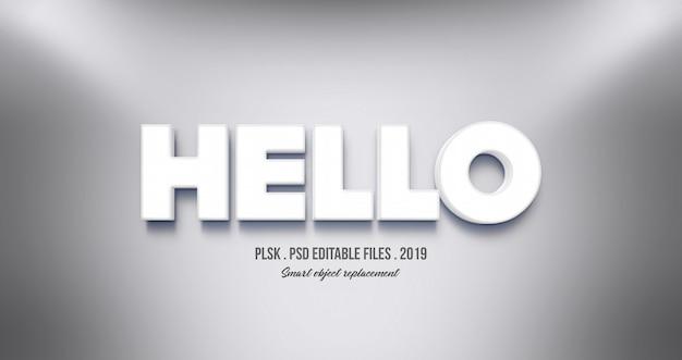 Realistic hello 3d text effect Premium Psd