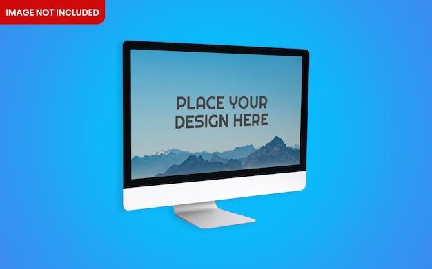 파란색 배경으로 현실적인 Imac 컴퓨터 바탕 화면 이랑 프리미엄 PSD 파일
