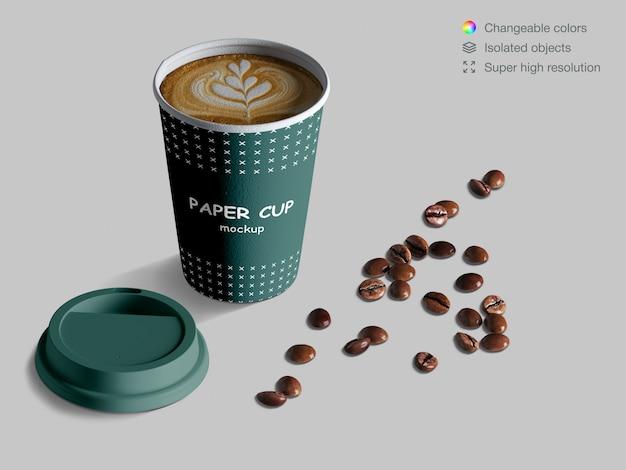 원두 커피와 현실적인 아이소 메트릭 커피 컵 이랑 프리미엄 PSD 파일