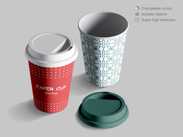 뚜껑이있는 현실적인 아이소 메트릭 커피 컵 이랑 프리미엄 PSD 파일