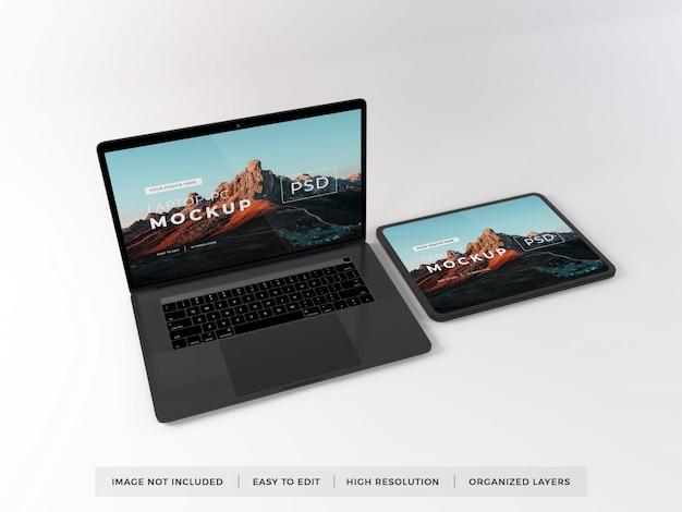 現実的なラップトップおよびタブレットデバイスのモックアップ Premium Psd