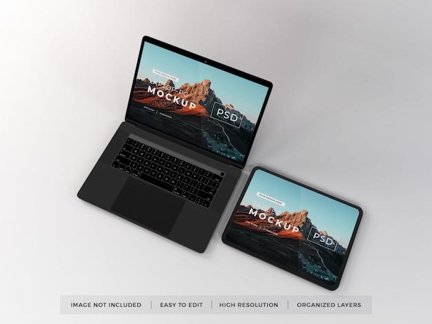 현실적인 노트북 및 태블릿 장치 모형 프리미엄 PSD 파일