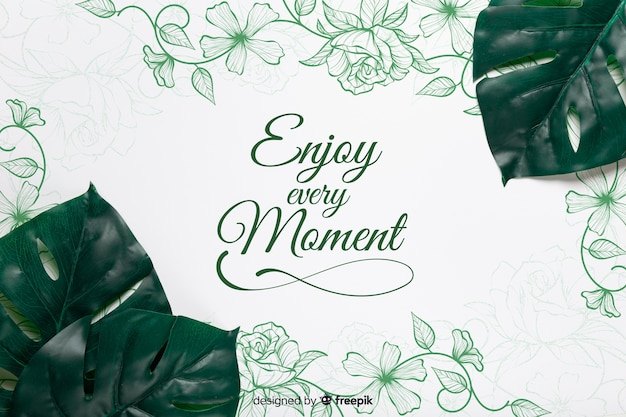 Realistic leaves in corner on paper with message Free Psd