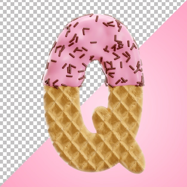 Realistic letter q alphabet waffle with chocolate sprinkles in 3d style Premium Psd