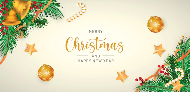 Realistic merry christmas background Free Psd