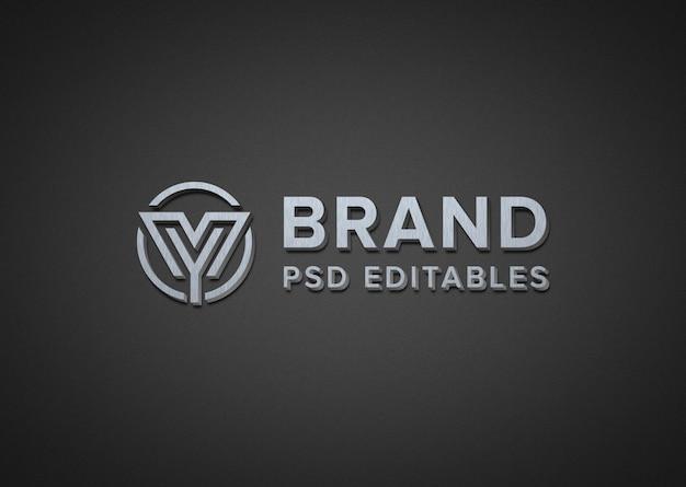 현실적인 금속 로고 이랑 프리미엄 PSD 파일