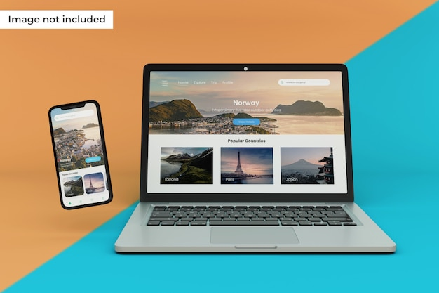 現実的なモバイルデバイスとラップトップ画面のモックアップ Premium Psd