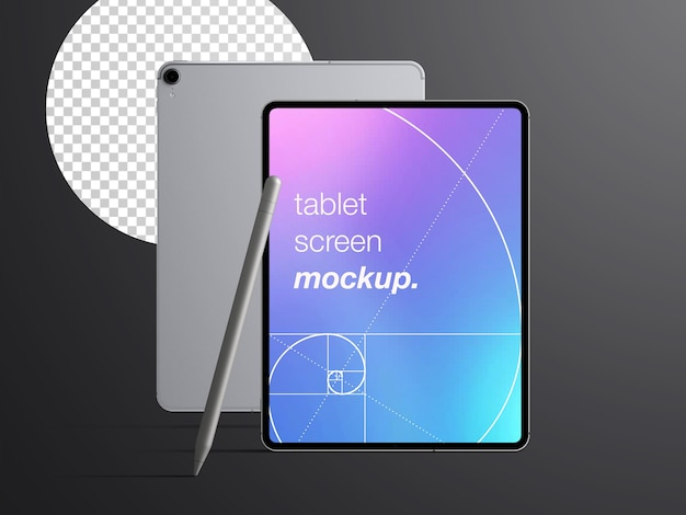 Realistic mockup isolated of front and back tablet device with stylus pencil Premium Psd