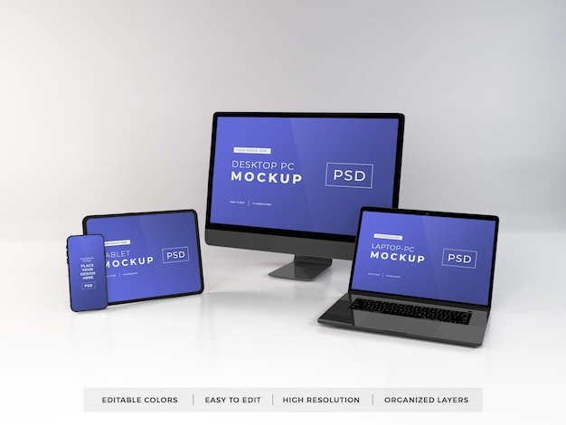 Realistic mockup of multiple devices Premium Psd