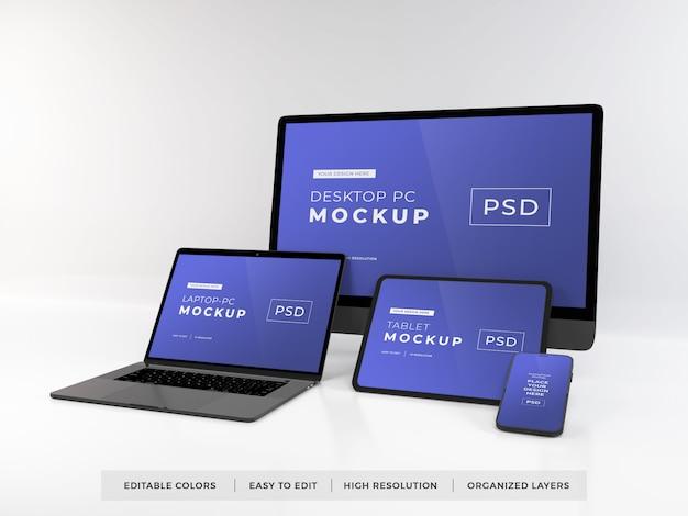 여러 장치의 현실적인 모형 프리미엄 PSD 파일