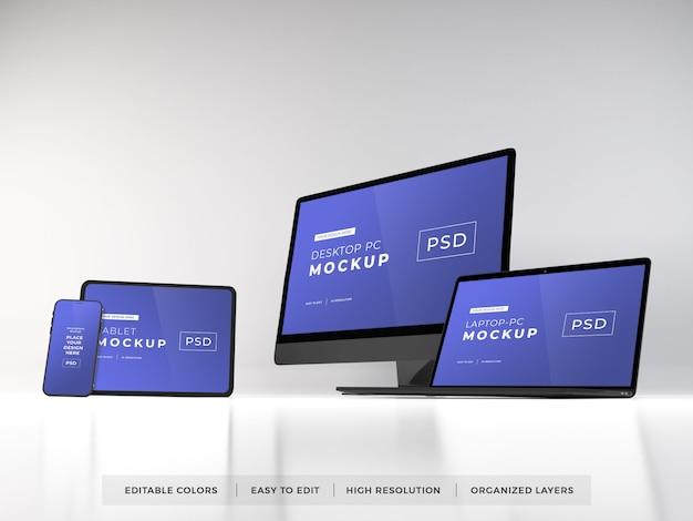 여러 장치의 사실적인 모형 프리미엄 PSD 파일