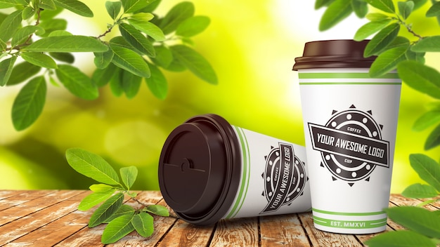 Realistic mockup of two disposable paper coffee cups Premium Psd
