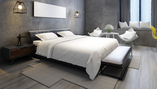 가구와 프레임 현실적인 현대 더블 침실 무료 PSD 파일