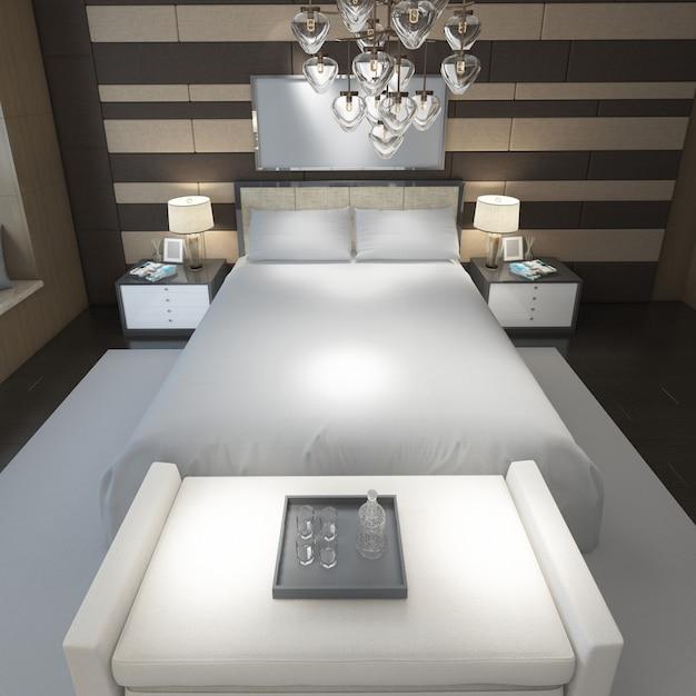 Реалистичная современная двухместная спальня с мебелью и рамой Бесплатные Psd