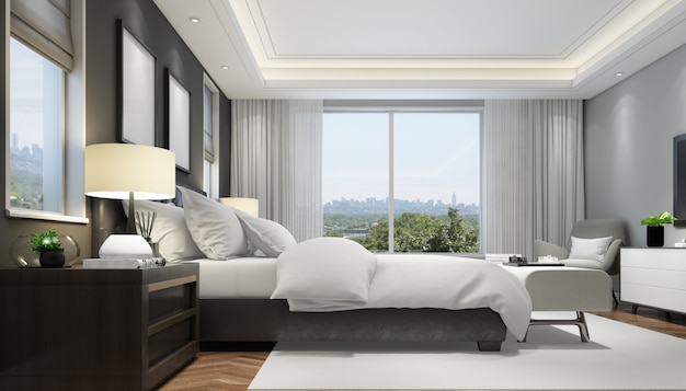 Free Psd Realistic Modern Double Bedroom With Furniture And A Frame