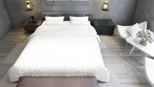 Реалистичная современная двухместная спальня с мебелью Бесплатные Psd