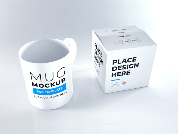 現実的なマグカップとボックス包装モックアップテンプレートpsd Premium Psd