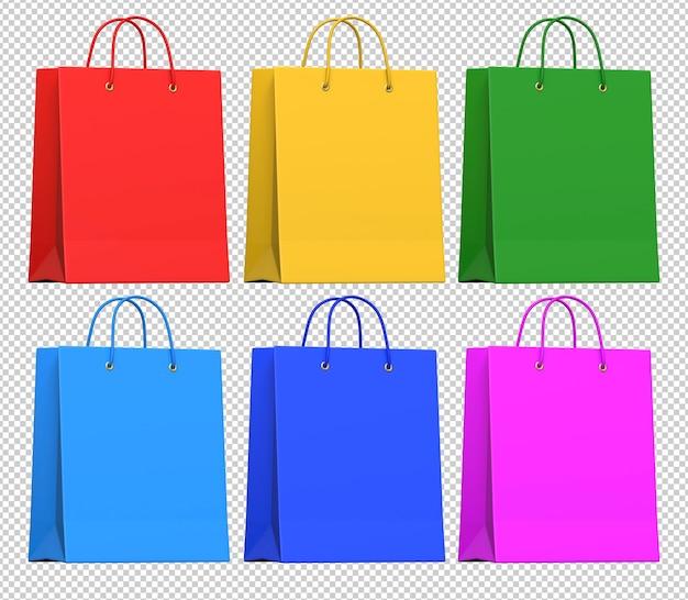 Реалистичные разноцветные бумажные сумки для покупок Premium Psd