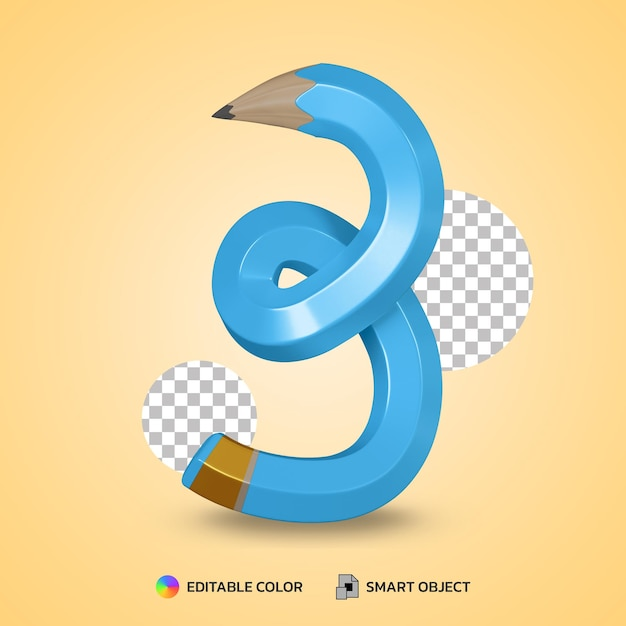 Realistic number 3 flexible pencil color isolated 3d rendering Premium Psd