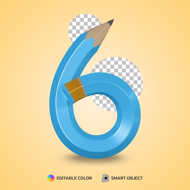 Realistic number 6 flexible pencil color isolated 3d rendering Premium Psd