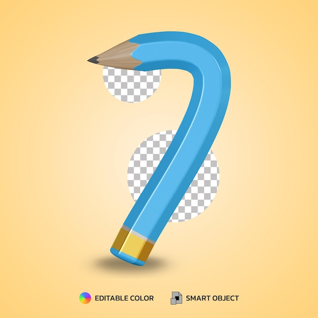 Realistic number 7 flexible pencil color isolated 3d rendering Premium Psd