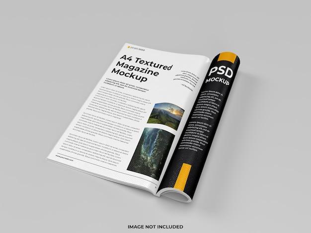 현실적인 오픈 잡지 접힌 모형 오른쪽보기 프리미엄 PSD 파일