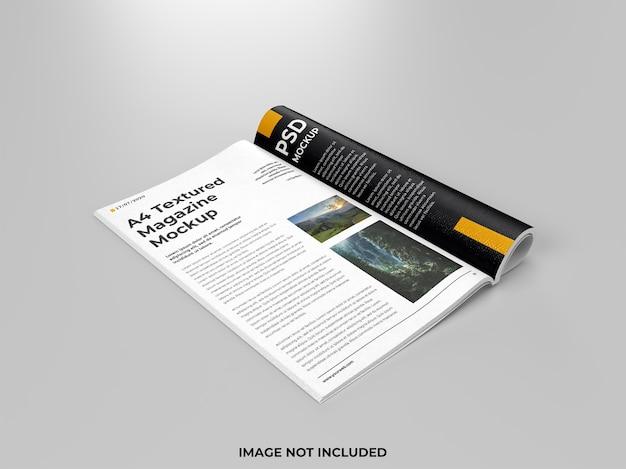 현실적인 오픈 잡지 접힌 모형 측면보기 프리미엄 PSD 파일