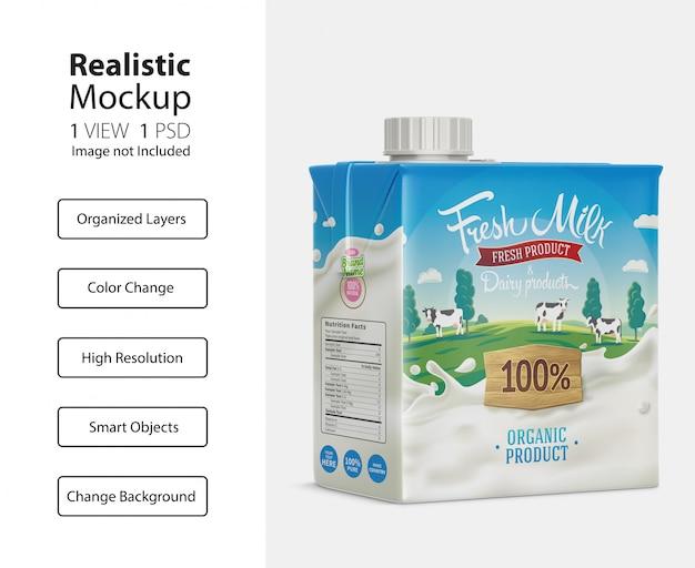 ミルクカートンボックスモックアップの現実的なパッケージ Premium Psd