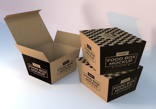 Realistic Paper Food Boxes Packaging Mockup Premium Psd File