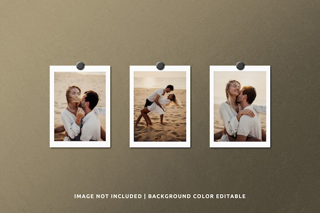 Realistic paper frame photo mockup in grunge background Premium Psd