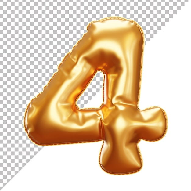 Realistic party foil balloon of number 4 cutoff background Premium Psd